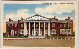 Lexington, Kentucky Postcard Greyhound Bus Terminal Street View Linen c1940s