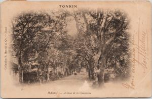 Vietnam Tonkin Hanoi Avenue Of Concession w/ Stamp Postcard c1906 E39 * As Is