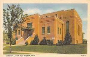 A8/ Bristow Oklahoma Ok Postcard Linen American Legion Hut Building