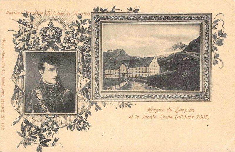 Hospice du Simplon et le Monte Leone Napoleon Bonaparte c1910s Vintage Postcard