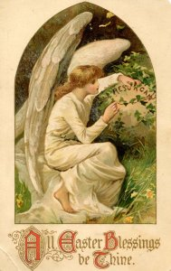 Greeting - Easter Angel         (creases)