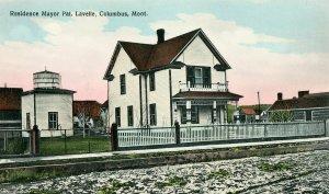 Postcard Columbus Montana Residence Mayor Pat. Lavelle handcolored  street view