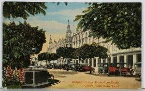 Cuba Habana Parque Central por Prado Central Park and Auto Stand Postcard K1