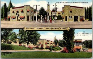 1940s LEAVENWORTH, Kansas Postcard COTTAGE TERRACE Motel Gas Station Linen