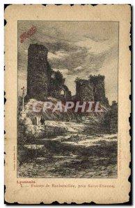 Old Postcard Lyonnais Rochetaillé Ruins near Saint Etienne Maggi