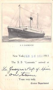 Cunard White Star Line Ship Post Card, Old Vintage Antique Postcard SS Lauren...