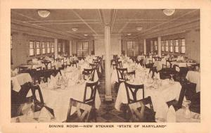 Steamer State of Maryland Dining Room Ship Interior Antique Postcard J69975