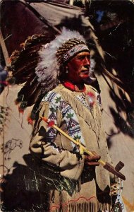 CHIEF RUNNING HORSE Native American Indian 1959 Vintage Postcard
