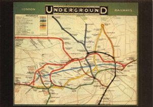 Postcard London Reproduction Underground Map 1908 3Y