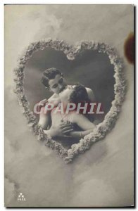 Postcard Old erotic Nude Female Heart