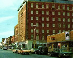 1960's Marshalltown Iowa Hotel Tallcorn Main Street Old Cars Signs Storefronts
