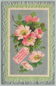 Flowers Greetings~Blushing Pink Wild Roses~Silver Border~c1910 Postcard