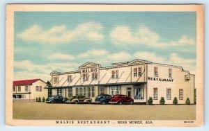 MOBILE, AL Alabama ~ MALBIS RESTAURANT  c1940s Cars Roadside Linen  Postcard