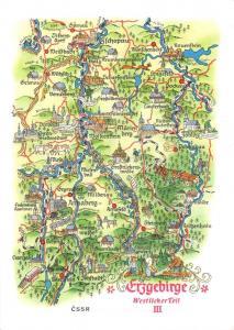 1974 Erzgebirge Westlicher Teil III Annaberg-Buchholz Germany Map Postcard 35D