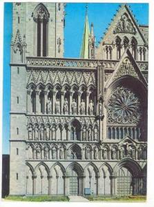 Cathedral w/ Rose Window, Trondheim,  Norway 1950-70s