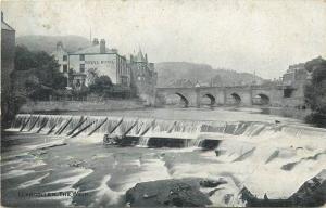 Llangollen the weir Royal Hotel 1910