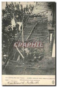 Paris Old Postcard zeppelins on Paris odious Crimes of the Boches collapse of...