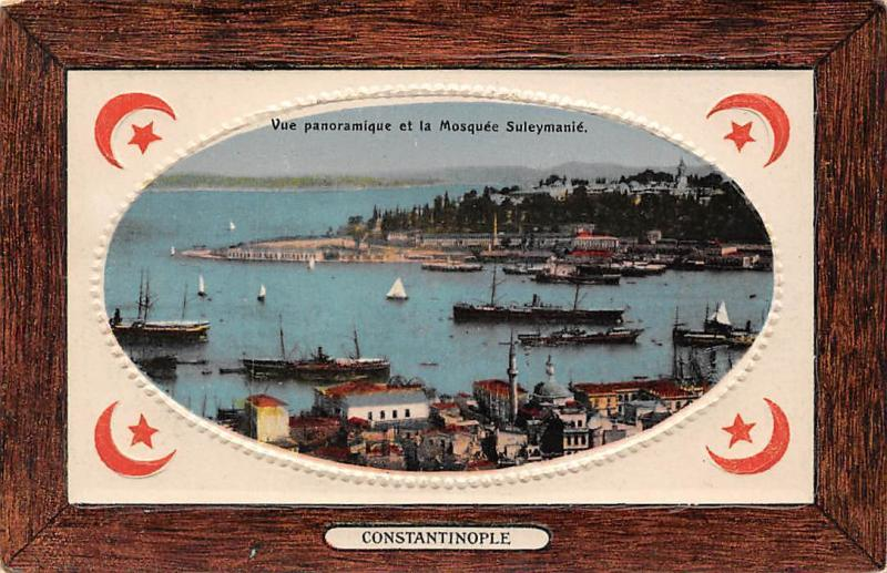 Embossed Istanbul, Constantinople, Vue panoramique et la Mosquee Suleymanie 1922