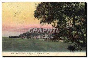 Old Postcard View Monte Carlo taking of Cap Martin