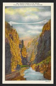 Suspension Bridge Highest Bridge in the World Royal Gorge Colorado Unused c1930
