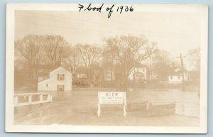 Postcard CT Hartford 1936 Flood Real Photo RPPC Road Construction Sign T9