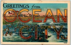 OCEAN CITY New Jersey Large Letter Postcard Bathing Beach Metrocraft Linen 1944