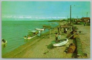 Kotzebue Alaska~Eskimo Kids Stand On Upside-Down Rowboat~Old Barrels~Vintage PC