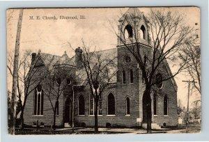 Elmwood IL, Methodist Church, Vintage Illinois Postcard