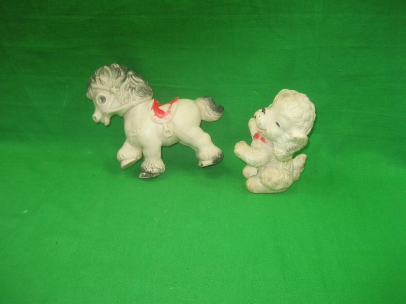 Pair of 1950s Vintage Antique The Sun Rubber Co Squeaky Toys Horse & Dog
