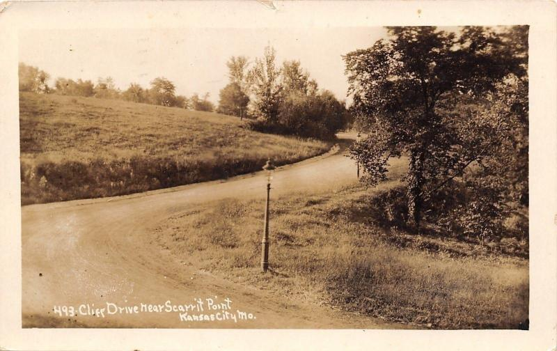 Kansas City Missouri~Scarrit Point~Cliff Drive~1910 Postcard RPPC