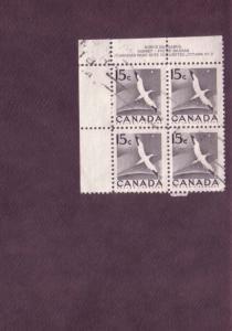 Canada, Used Inscription Block of Four, Goose, 10 Cent, Scott #343