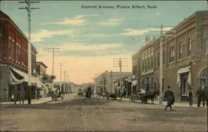 Prince Albert Saskatchewan Central Ave c1910 Postcard