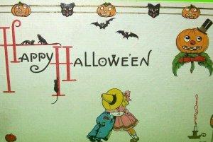 Antique Halloween Postcard Bergman Series 9076 Original Cats Bats Goblin Border