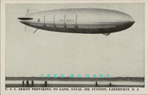 1931 Lakehurst New Jersey Postcard: USS Akron Arrives at Naval Air Station