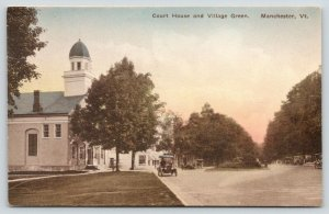 Manchester VT~Court House~Stores~Village Green~Vintage Cars~1920 Handcolored PC