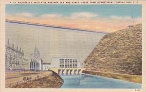 Architects Sketch Of Fontana Dam And Power House From Downstream Fontana Dam