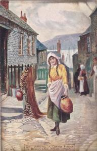 Girl Carrying a Cornish Pitcher in Bailey's, St Ives, Cornwall, UK AS JOTTER,0