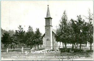 FORT ATKINSON, Iowa RPPC Photo Postcard St. Anthony's Chapel - Smallest Church