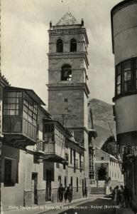 bolivia, POTOSI, Calle Tarija con la Torre de San Francisco (1950s)