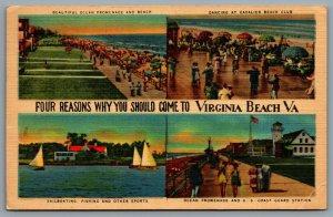 Postcard Virginia Beach VA c1949 Four Reasons Why You Should Come Multi View