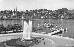 Luzern Brunnen Fountain Promenade Lake Boats Bateaux Panorama