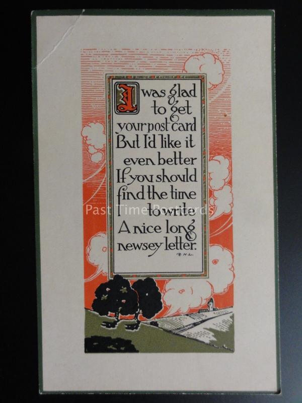 verset : I Was Glad to Get Your CARTE POSTALE, mais je le ferais c1916 Arts &