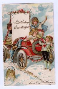 Birthday Children in Auto with Champagne Gilded 1907