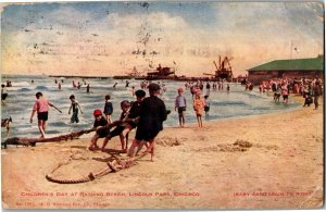 Children's Day at Beach Baby Sanitarium Chicago IL c1909 Vintage Postcard V11