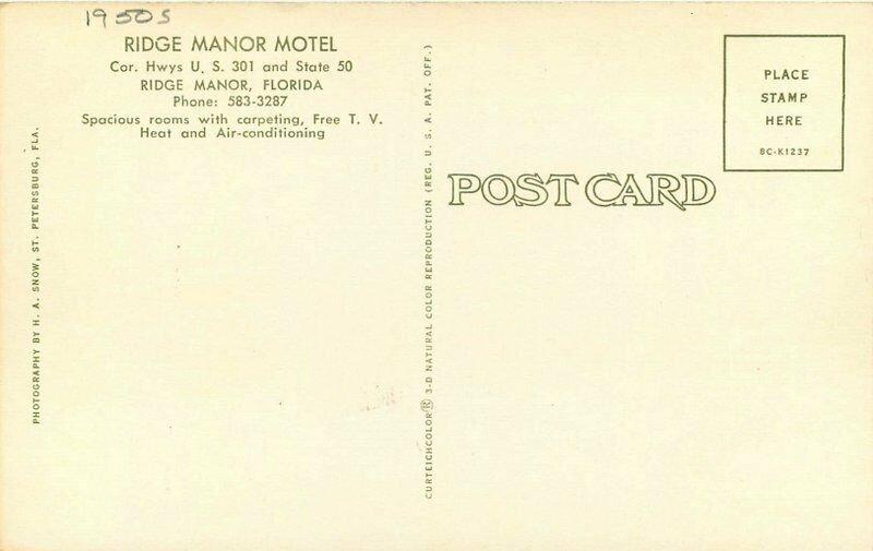 Florida Roadside Hwy 301 Ridge Manor Motel 1950s Postcard Snow Teich 20-1617