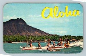 Waikiki HI-Hawaii, Outrigger Canoe, Chrome Postcard