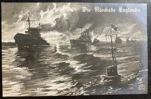Mint Germany Picture Postcard U boat submarine Blocking British Battleships