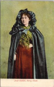 Irish Colleen Kerry Cloak Ireland Unused Antique Postcard E25