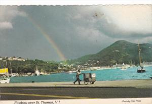 Rainbow Over St. Thomas Waterfront, Virgin Islands, United States, 50-70's