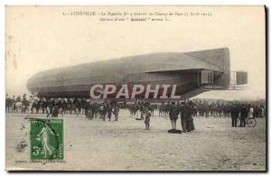 Postcard Old Airship Zeppelin landed at Luneville Champ de Mars Paris